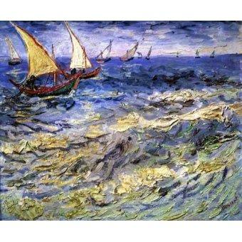 Tableaux de paysages marins - Tableau -Barques de pêche près des Saintes– Maries- - Van Gogh, Vincent