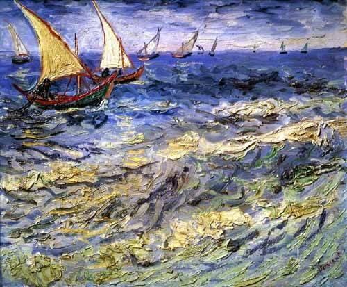 tableaux-de-paysages-marins - Tableau -Barques de pêche près des Saintes– Maries- - Van Gogh, Vincent