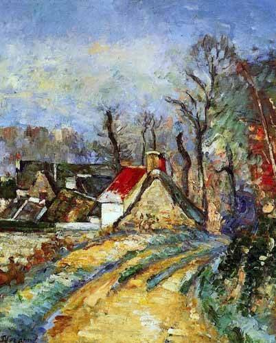 tableaux-de-paysages - Tableau -Route tournant à Auvers- - Cezanne, Paul
