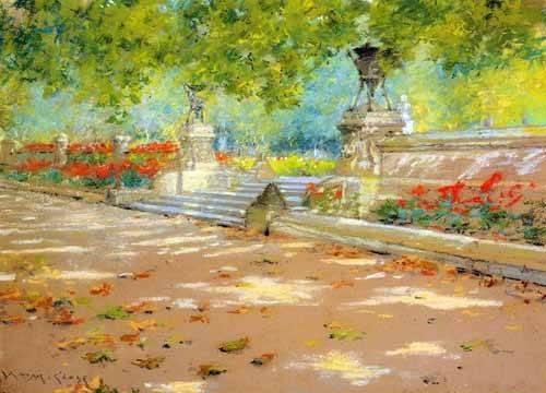 tableaux-de-paysages - Tableau -Merritt Terrace Prospect Park- - Chase, William
