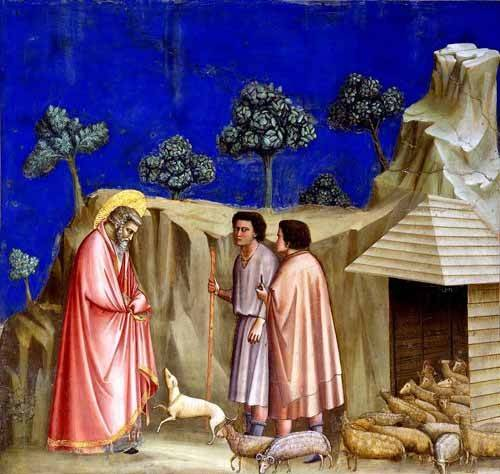 tableaux-religieuses - Tableau -Joachim retires to the sheepfold- - Giotto, Bondone di