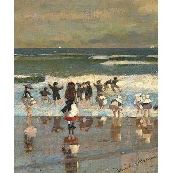 Tableaux de paysages marins - Tableau -Escena de playa con niños jugando en las olas- - Homer, Winslow