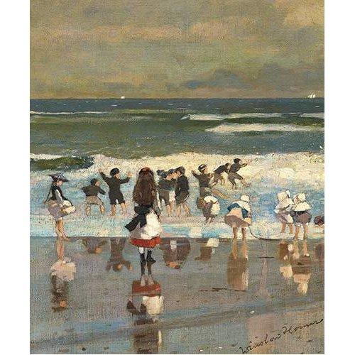 Tableau -Escena de playa con niños jugando en las olas-