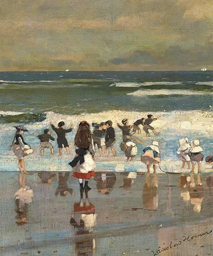 tableaux-de-paysages-marins - Tableau -Escena de playa con niños jugando en las olas- - Homer, Winslow