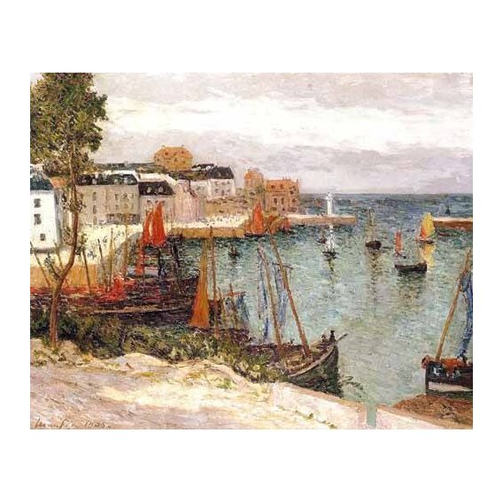 pinturas de paisagens marinhas - Quadro -El puerto de Sauzon, Belle Isle en Mer-