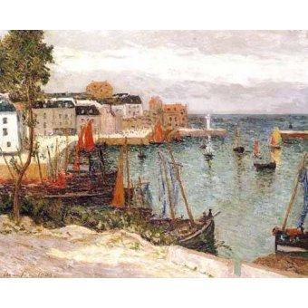 Tableau -El puerto de Sauzon, Belle Isle en Mer-