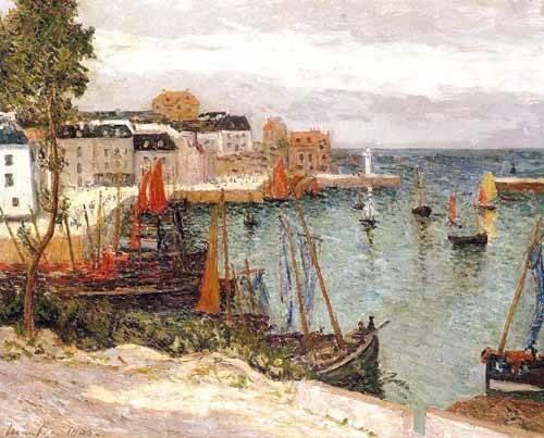 tableaux-de-paysages-marins - Tableau -El puerto de Sauzon, Belle Isle en Mer- - Maufra, Maxime