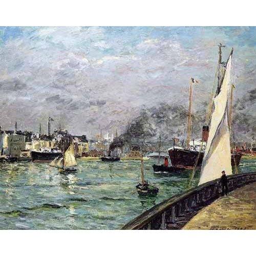 pinturas de paisagens marinhas - Quadro -Partida de un barco de carga, Le Havre-