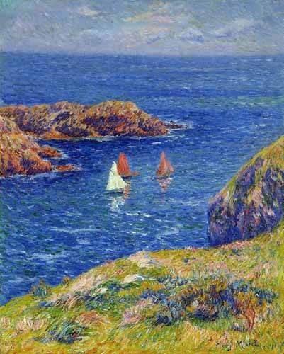 tableaux-de-paysages-marins - Tableau -Día tranquilo en Quessant- - Moret, Henri