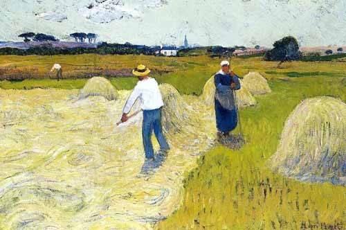 tableaux-de-paysages - Tableau -Haymaking- - Moret, Henri