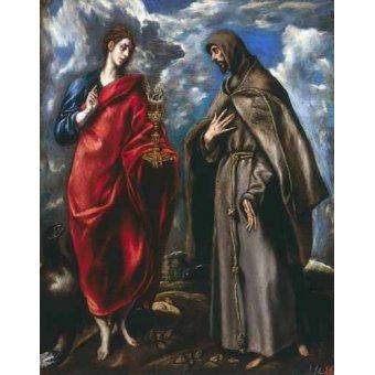Tableaux religieuses - Tableau -San Juan Evangelista y San Francisco- - Greco, El (D. Theotocopoulos)