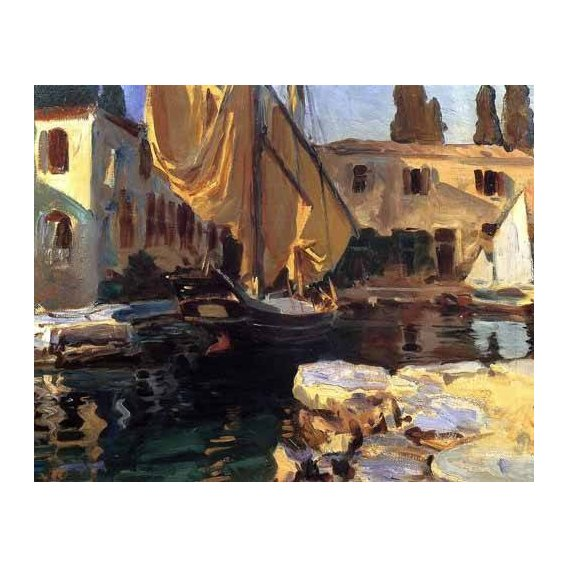 pinturas de paisagens marinhas - Quadro -Un barco con vela dorada-