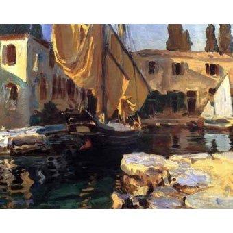 Tableaux de paysages marins - Tableau -Un barco con vela dorada- - Sargent, John Singer