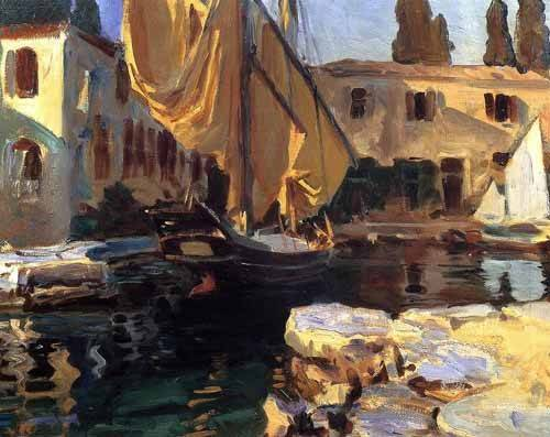 tableaux-de-paysages-marins - Tableau -Un barco con vela dorada- - Sargent, John Singer