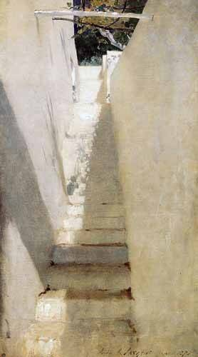 tableaux-de-paysages - Tableau -Escalinata en Capri- - Sargent, John Singer