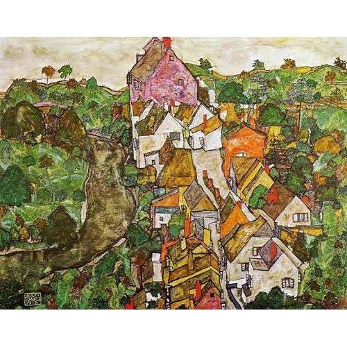 pinturas de paisagens - Quadro -Paisaje de Krumau-