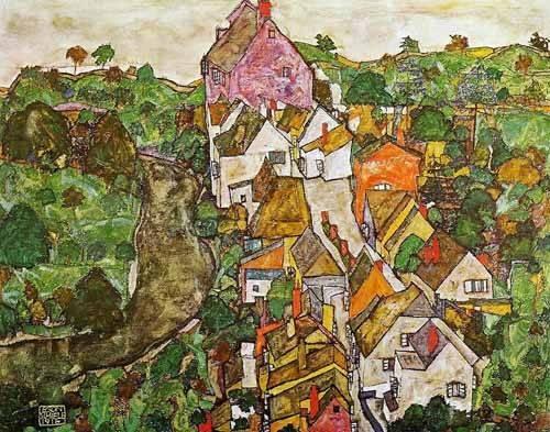 tableaux-de-paysages - Tableau -Paisaje de Krumau- - Schiele, Egon