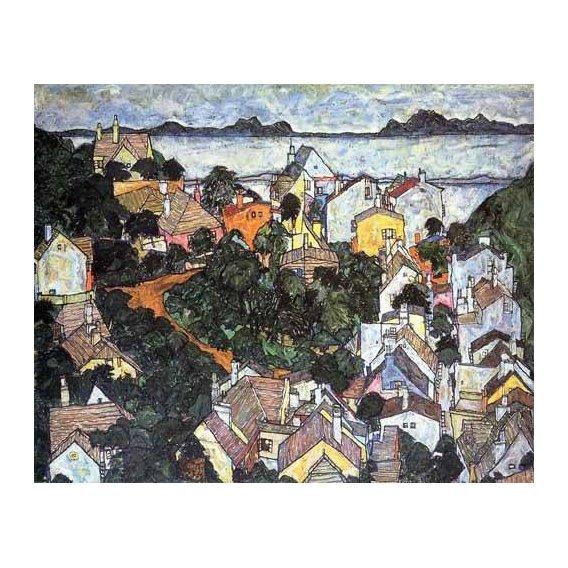 pinturas de paisagens - Quadro -Paisaje de verano en Krumau-