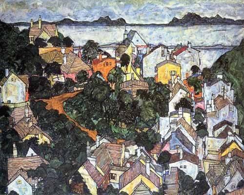 tableaux-de-paysages - Tableau -Paisaje de verano en Krumau- - Schiele, Egon