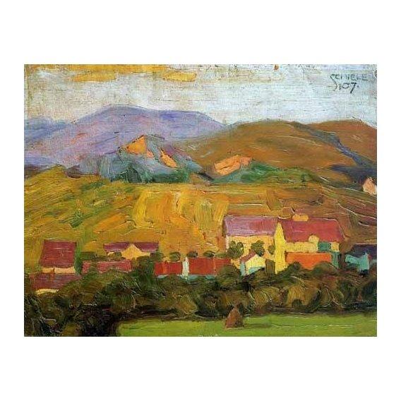 pinturas de paisagens - Quadro -Pueblo con montañas-