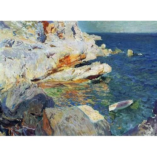 Tableau -Roches de Jávea et le bateau blanc-