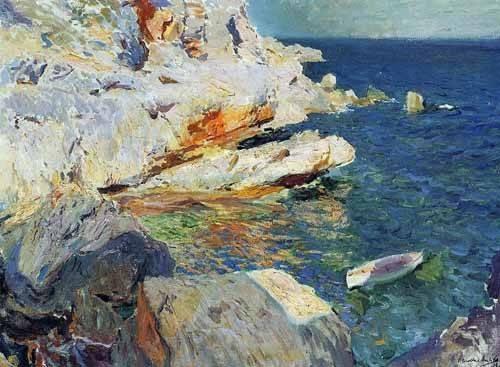 tableaux-de-paysages-marins - Tableau -Roches de Jávea et le bateau blanc- - Sorolla, Joaquin