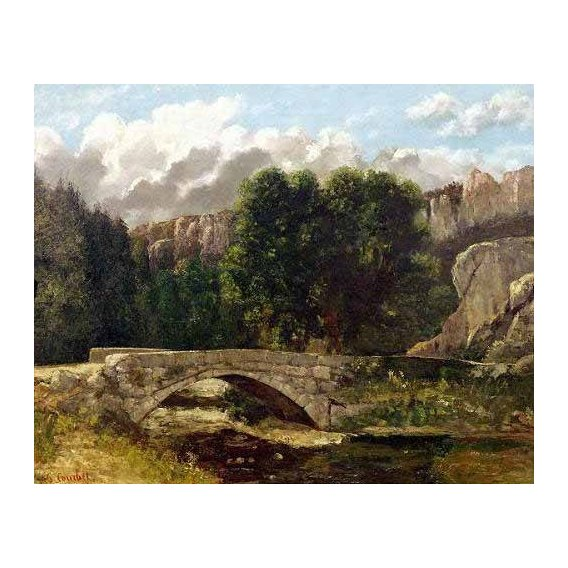 pinturas de paisagens - Quadro -El puente de Fleurie, Suiza (1873)-