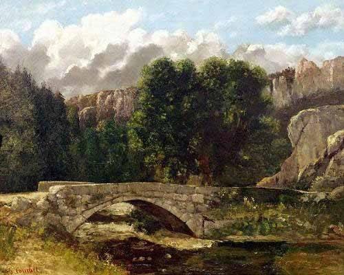 tableaux-de-paysages - Tableau -Le Pont de Saint-Sulpice près de Fleurier (1873)- - Courbet, Gustave