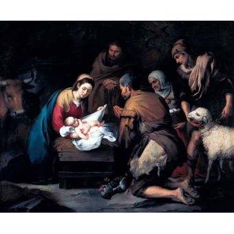 Tableaux religieuses - Tableau -Adoración de los pastores- - Murillo, Bartolome Esteban