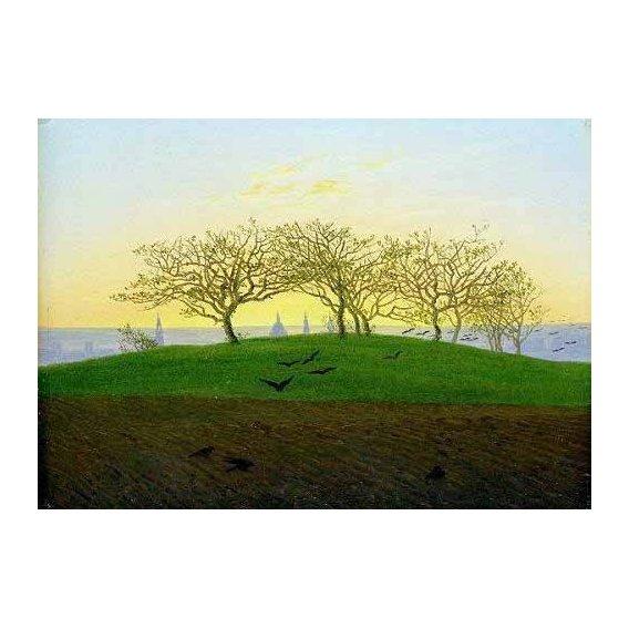 pinturas de paisagens - Quadro -Cerros y campos arados cerca de Dresden-