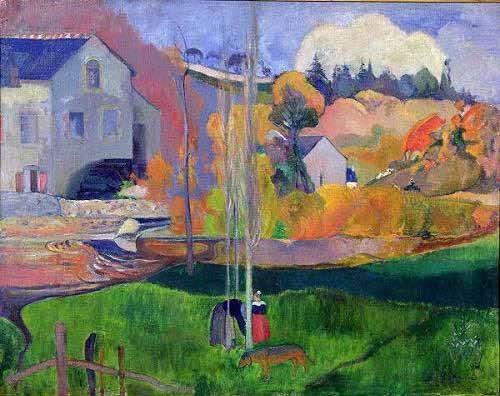 tableaux-de-paysages - Tableau -Paisaje de Bretaña: el molino de Mill- - Gauguin, Paul