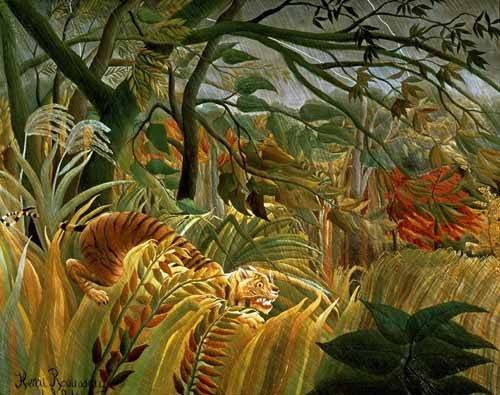 tableaux-de-paysages - Tableau -Tigre en una tormenta tropical- - Rousseau, Henri