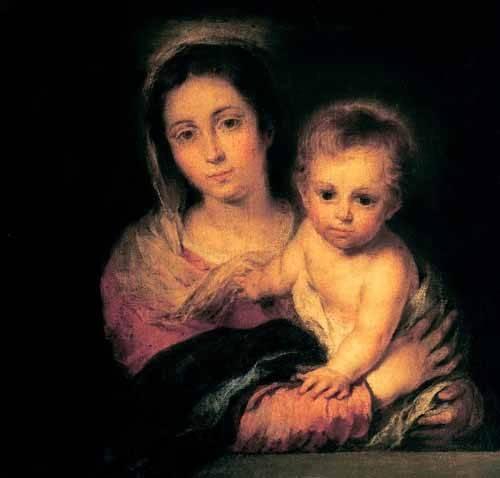 tableaux-religieuses - Tableau -La Virgen y el Niño- - Murillo, Bartolome Esteban