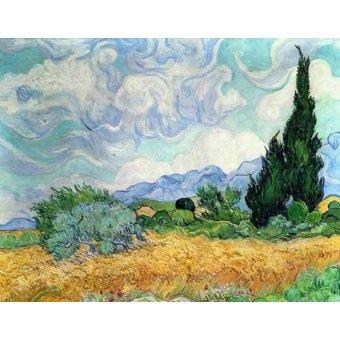 - Tableau -Champ de blé avec cyprès- - Van Gogh, Vincent