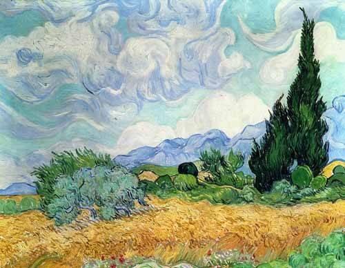 tableaux-de-paysages - Tableau -Champ de blé avec cyprès- - Van Gogh, Vincent