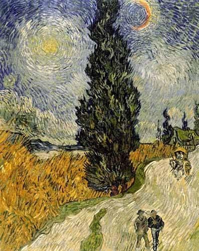 tableaux-de-paysages - Tableau -Route avec un cyprès et une étoile- - Van Gogh, Vincent
