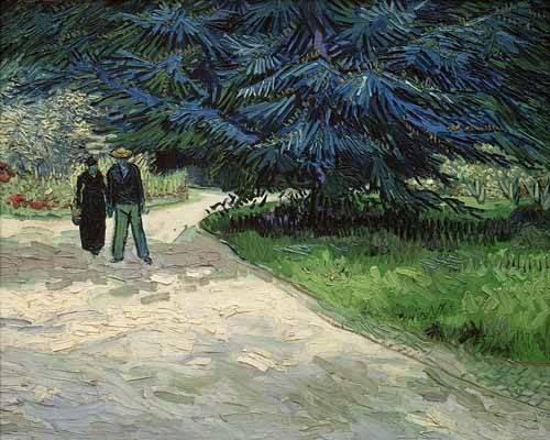 tableaux-de-paysages - Tableau -Couple dans le parc, Arles- - Van Gogh, Vincent