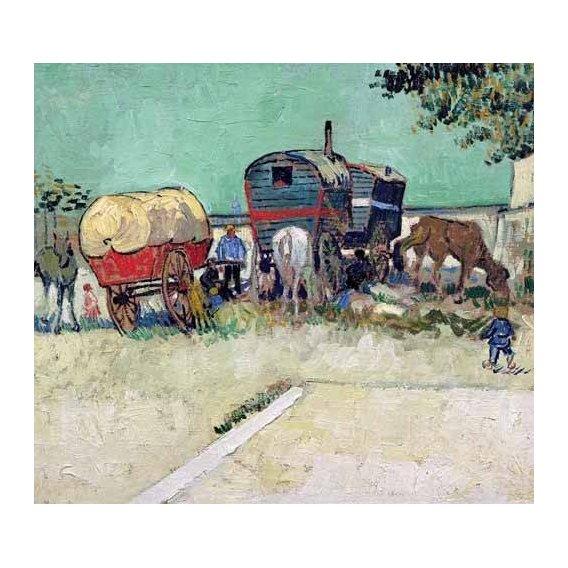 pinturas de paisagens - Quadro -Las caravanas de un campamento gitano cerca de Arles-