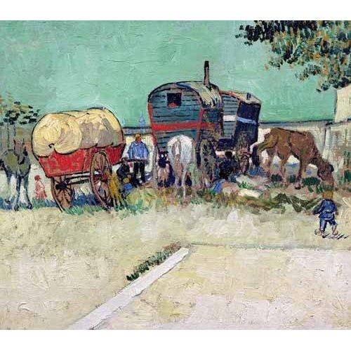 Tableau -Les roulottes, campement de bohémiens aux environs d'Arles-