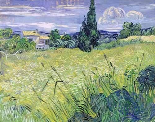 tableaux-de-paysages - Tableau -Champ de blé vert avec cyprès- - Van Gogh, Vincent